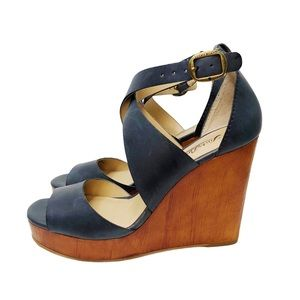 Lucky Brand Lyndell Navy Leather Wood Wedges